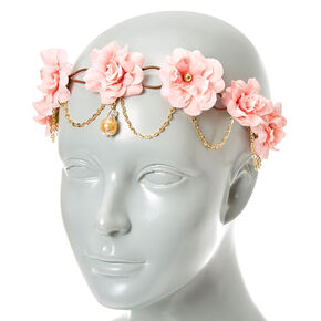Gold Chain Flower Crown Headwrap - Blush Pink,