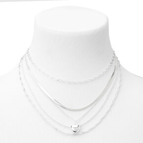 Silver Puff Heart Chain Mixed Multi Strand Necklace,