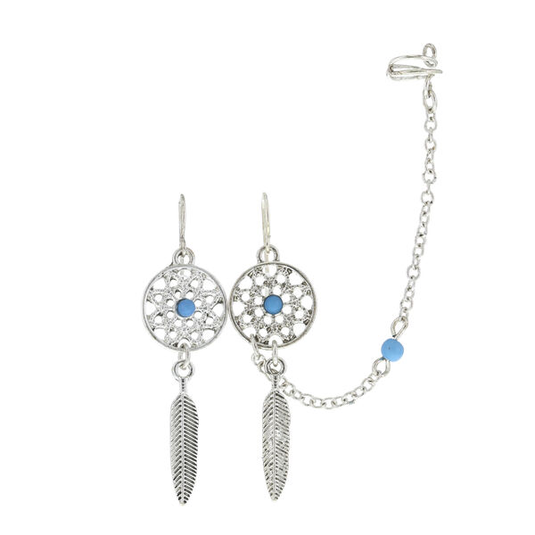 Claire's - dreamcatcher earrings and chain ear cuff - 1