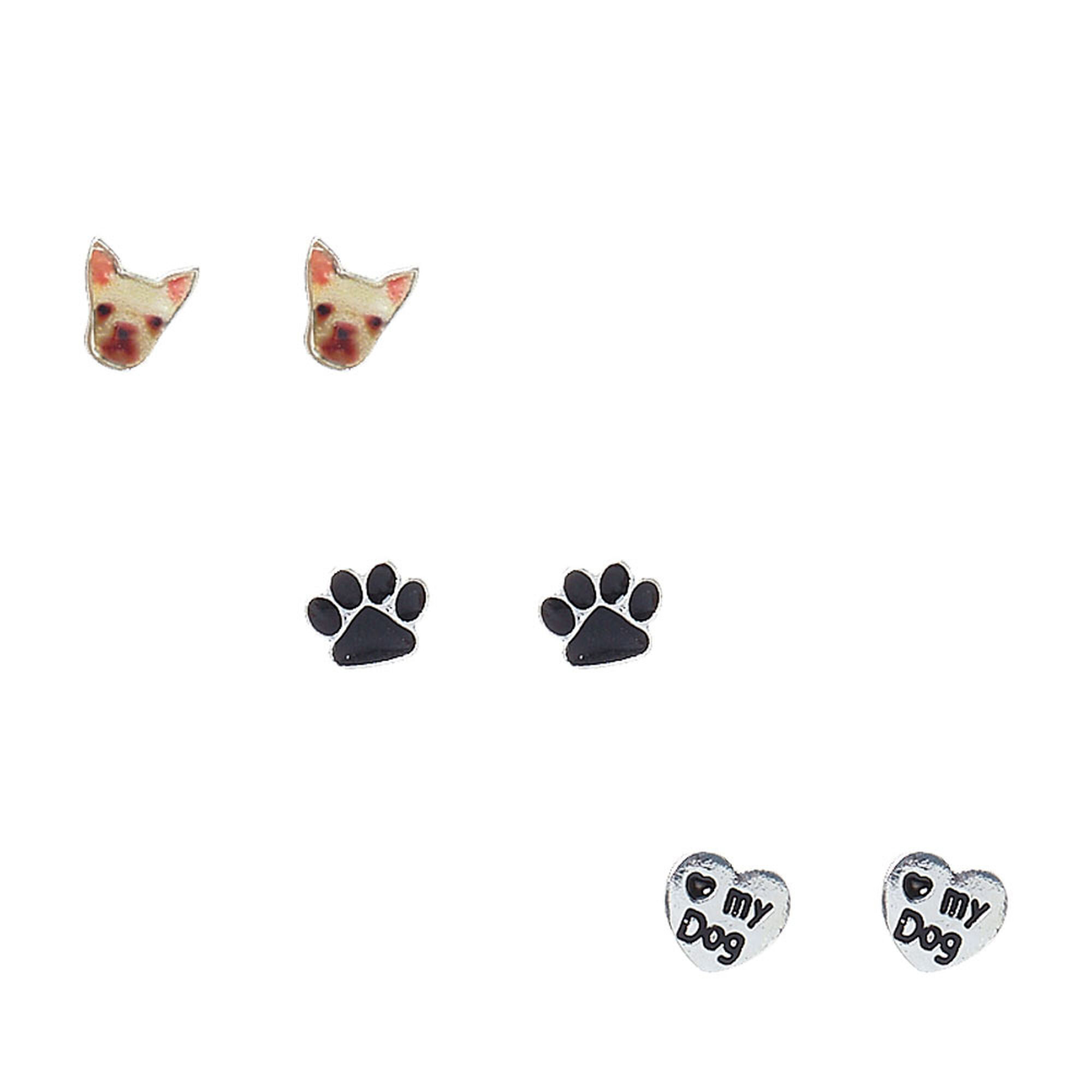 gold silver jewelry earring color cute mark earrings tiny item print cat dog paw stud round