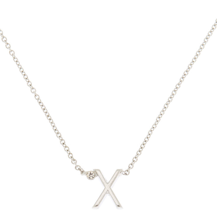 Silver Stone Initial Pendant Necklace - X,