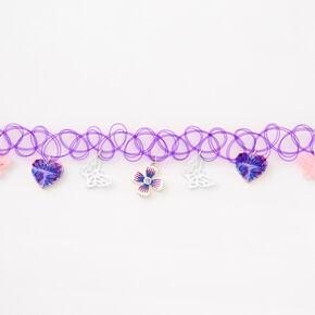 Ras-de-cou effet tatouage cœurs et papillons - Violet,