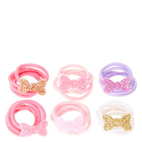 Claire's Club Glitter Bow Mini Hair Ties,