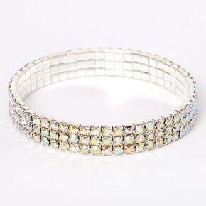 Silver Iridescent Rhinestone Stretch Bracelet,