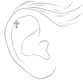 Silver Titanium 16G Crystal Cross Cartilage Stud Earring,