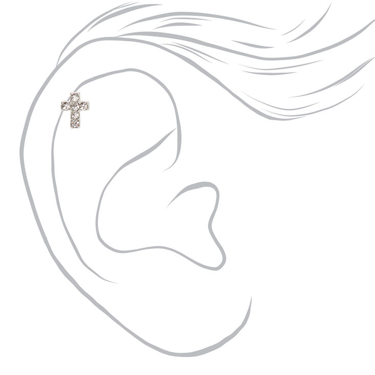 Clou d'oreille pour piercing cartilage croix en strass 1,2mm couleurs argentée et titanée,