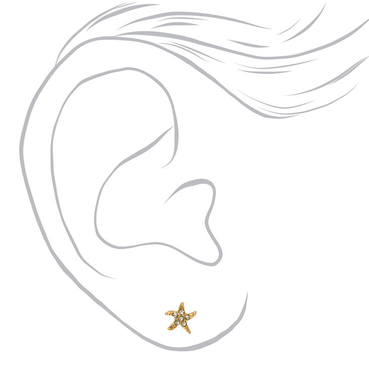 18kt Gold Plated Embellished Starfish Stud Earrings,