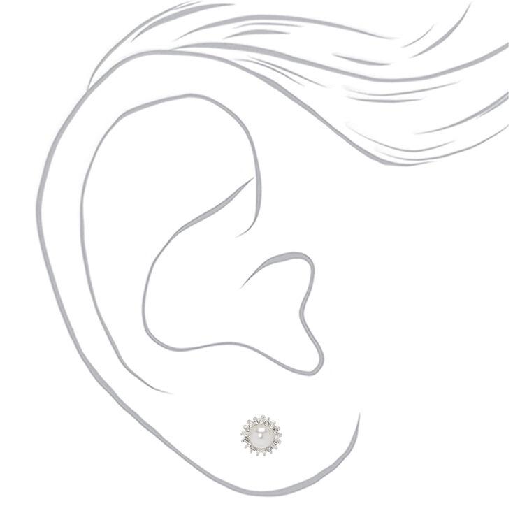 Silver Floral Embellished Stud Earrings - 3 Pack,
