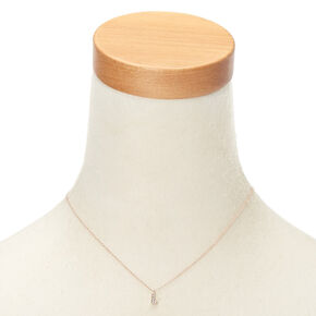 Rose Gold Embellished Initial Pendant Necklace - L,