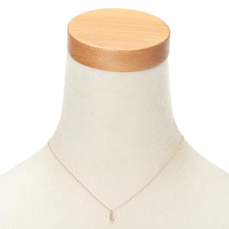 Rose Gold Embellished Initial Pendant Necklace - L,