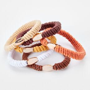 Mixed Naturals Beaded Twist Hair Ties - 6 Pack,