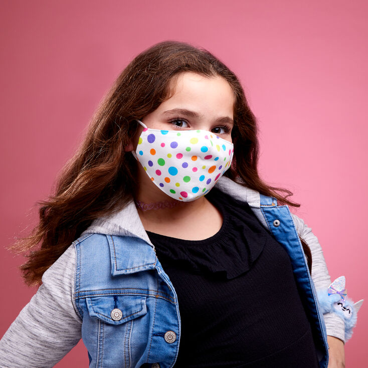 Rainbow Polka Dot Cloth Face Mask - Child Medium/Large,