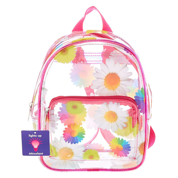 Claire's - rainbow daisy light up midi backpack - 1