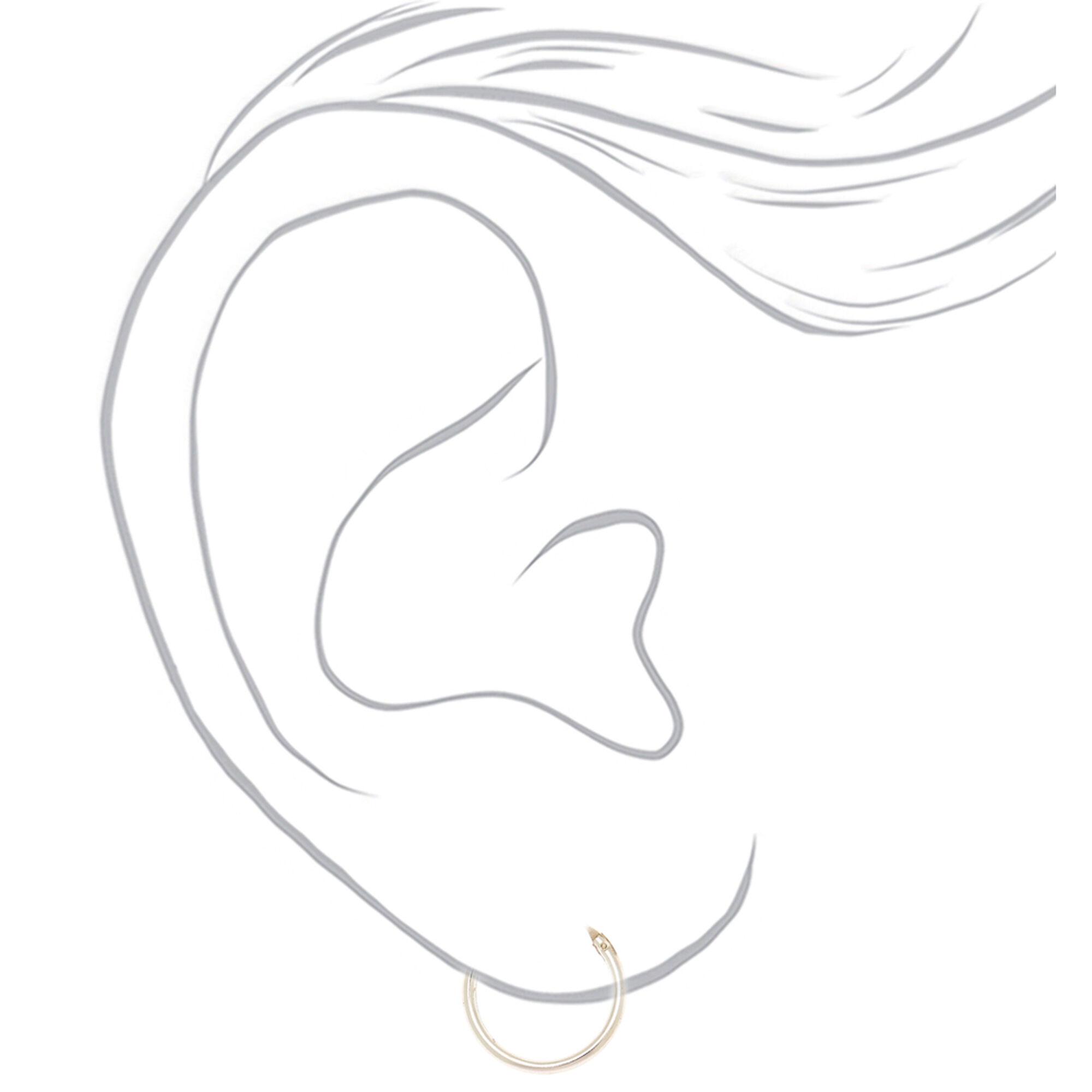 b27cd3a9aaa628 Sterling Silver 14MM Hinged Hoop Earrings | Claire's US