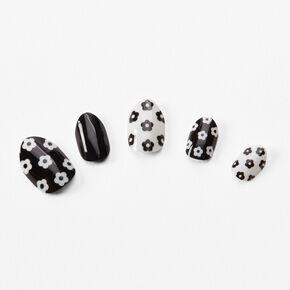 Faux ongles autocollants vegan stiletto floraux noirs et blancs - Lot de 24,