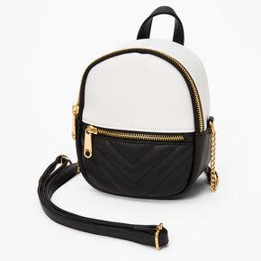Colourblock Mini Backpack Crossbody Bag - Black/White,