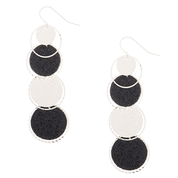 "Claire's - 2"" glitter disk drop earrings - 1"