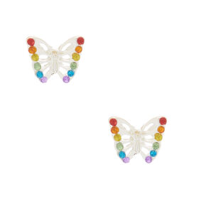 Clous d'oreille papillon arc-en-ciel,