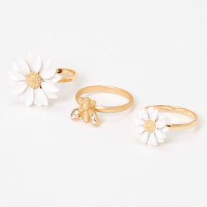 Gold Daisy Bee Mixed Rings - 3 Pack,