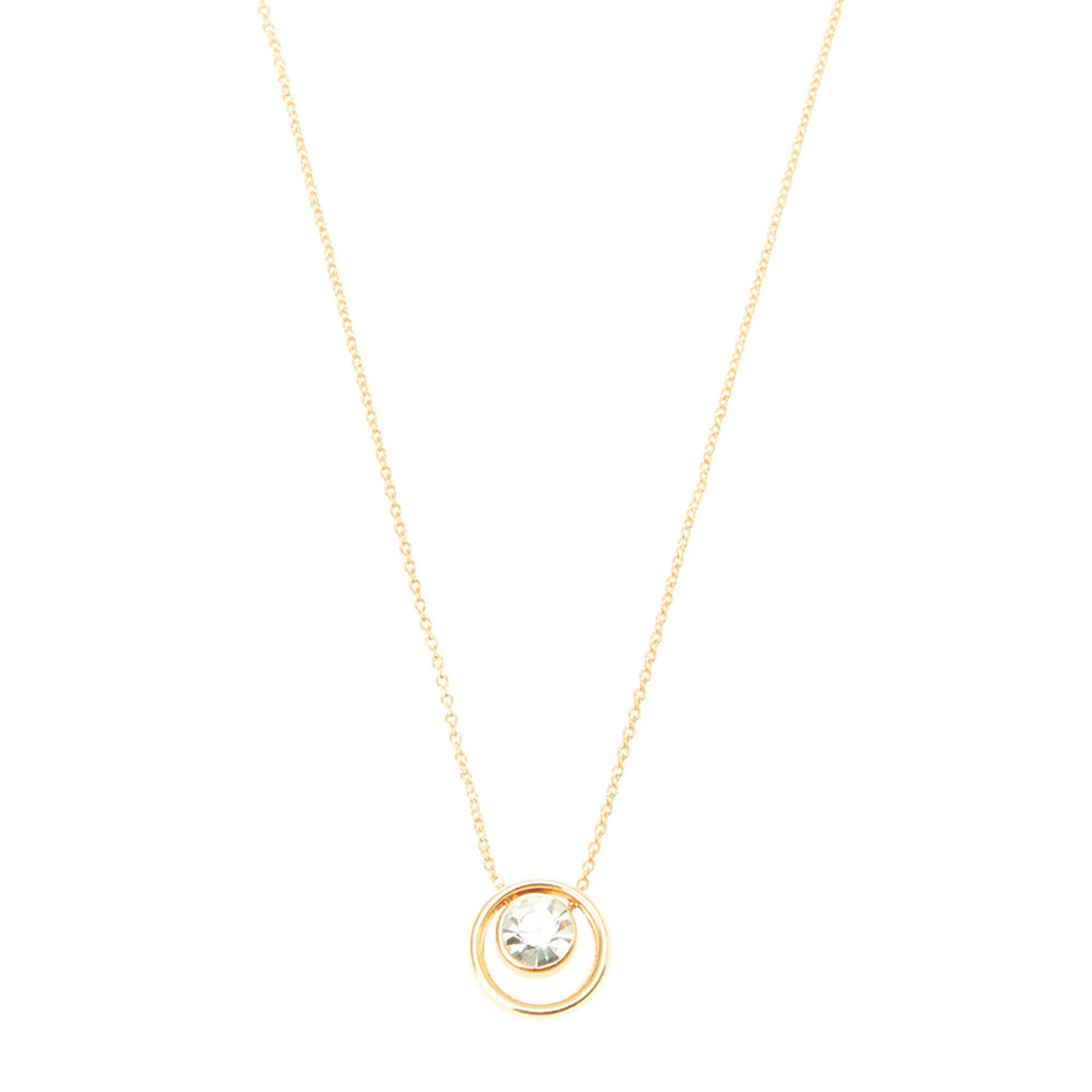 Gold crystal circle pendant necklace claires us gold crystal circle pendant necklace aloadofball Image collections