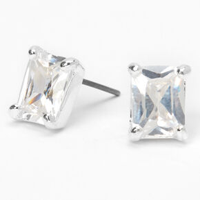 Silver Cubic Zirconia Rectangle Stud Earrings - 8MM,