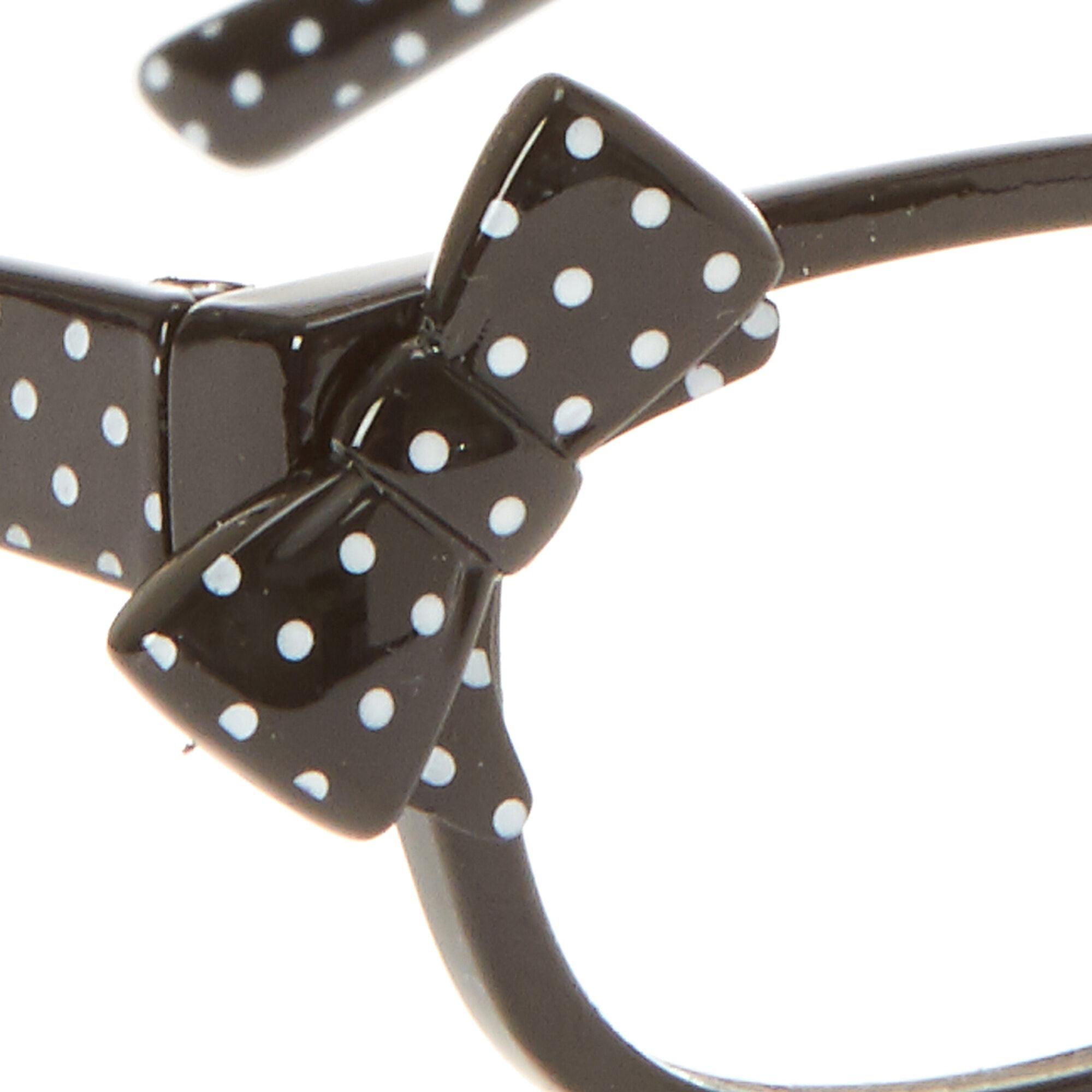 Kids Black Polka Dot Bow Rectangular Frames | Claire\'s US