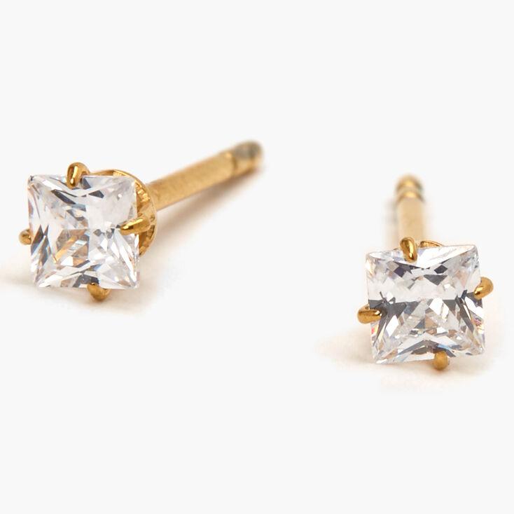Gold Titanium Cubic Zirconia Square Stud Earrings - 3MM,