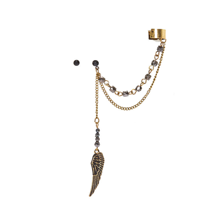 Burnished Gold Tone Wing Chain Ear Cuff And Black Stud Earring Set