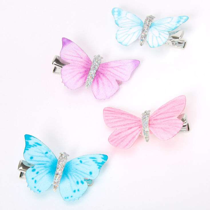 Claire's Club Butterfly Hair Clips - 4 Pack,