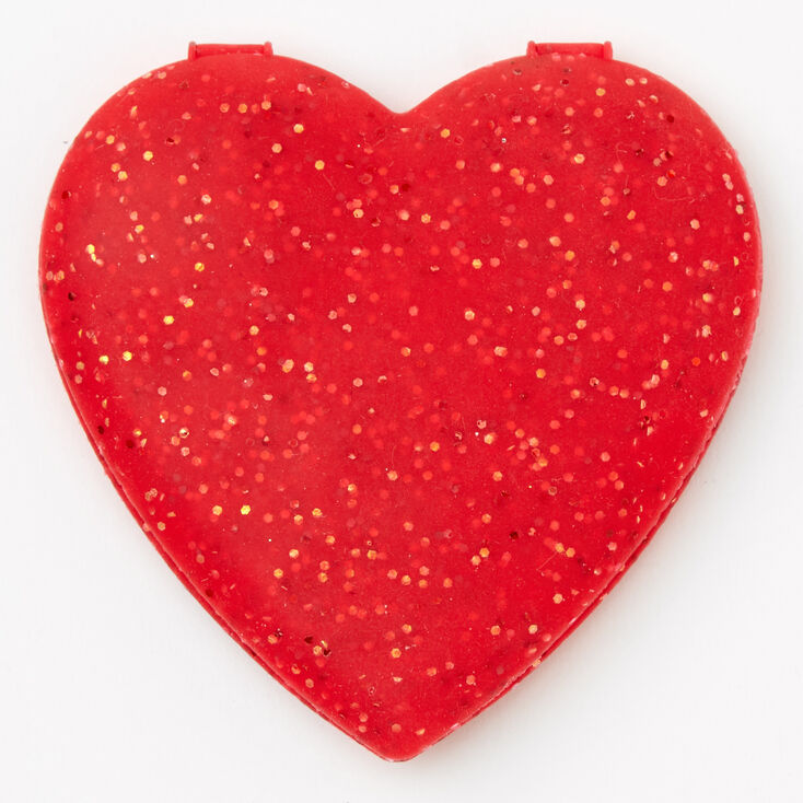 Silicone Glitter Heart Compact Mirror - Red,