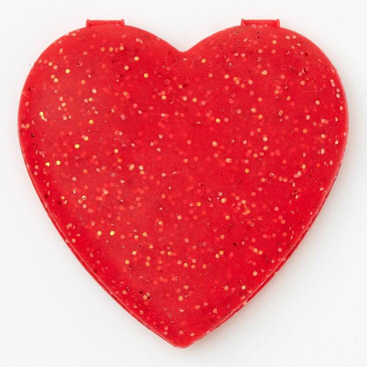 Miroir compact en forme de cœur pailleté en silicone - Rouge,