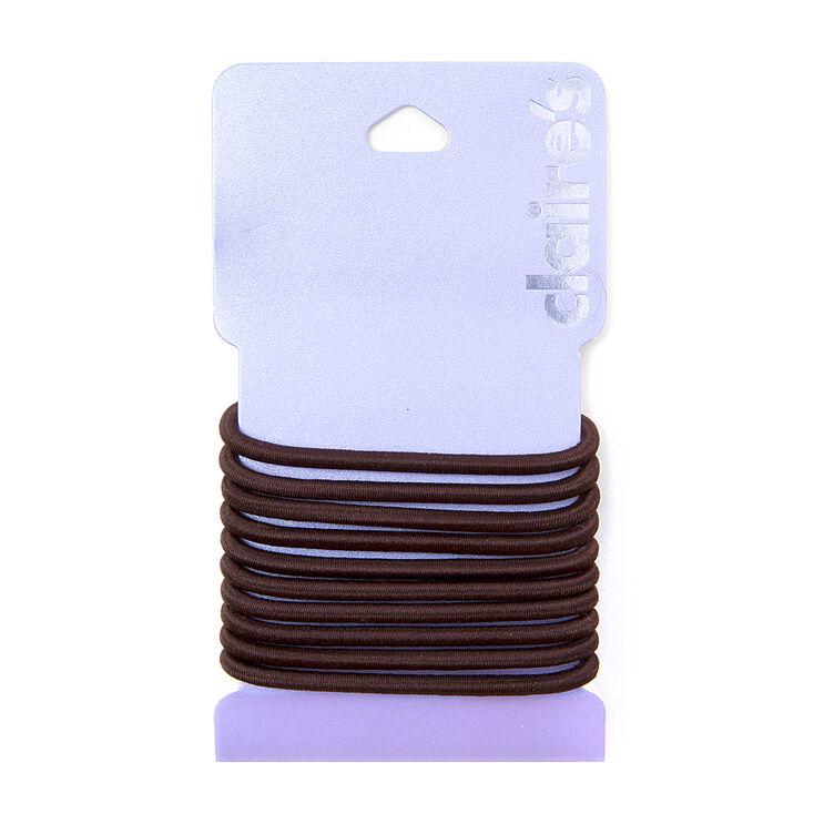 Solid Hair Ties - Brown, 10 Pack,