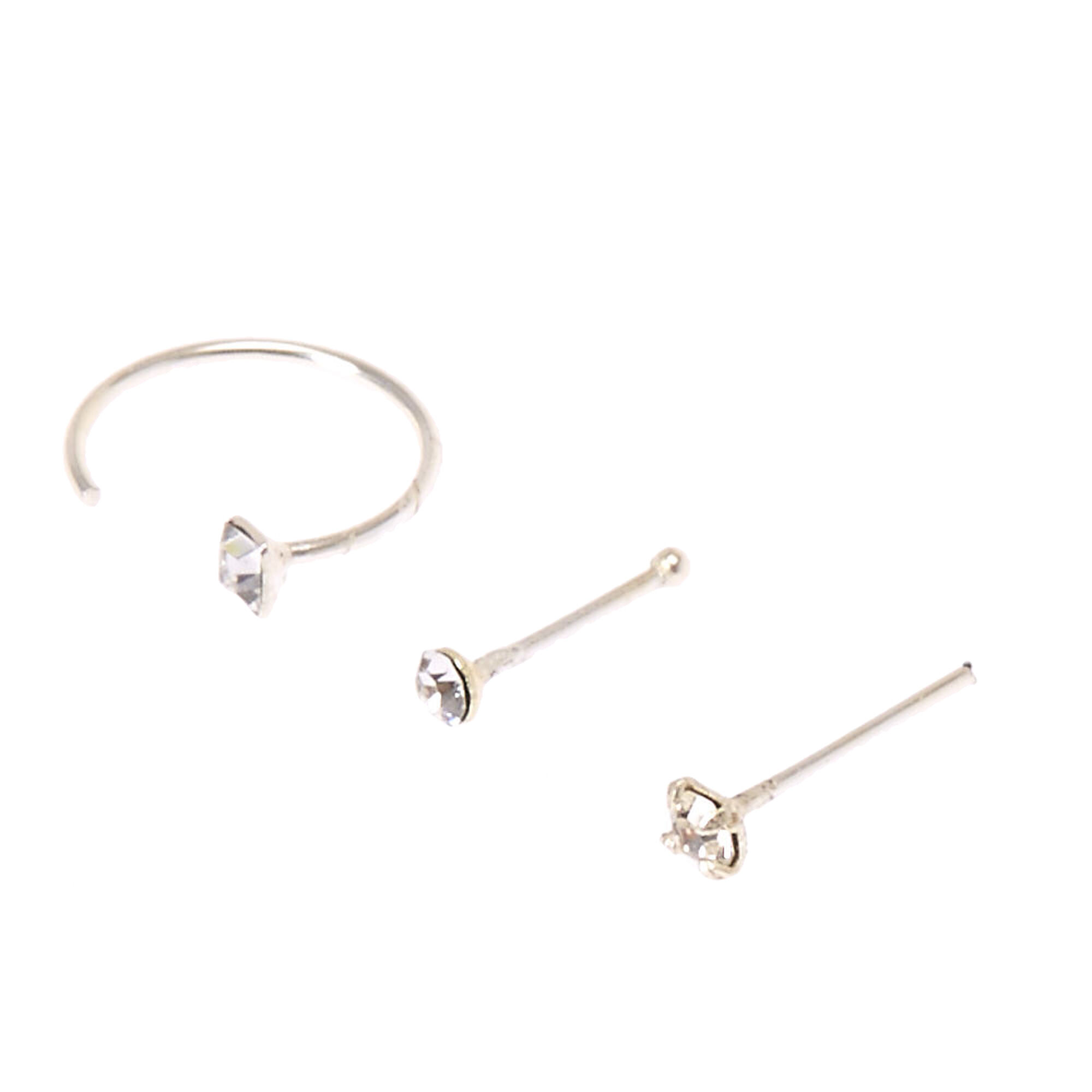 Sterling Silver Studs And Square Half Hoop Nose Rings | Claire\'s US