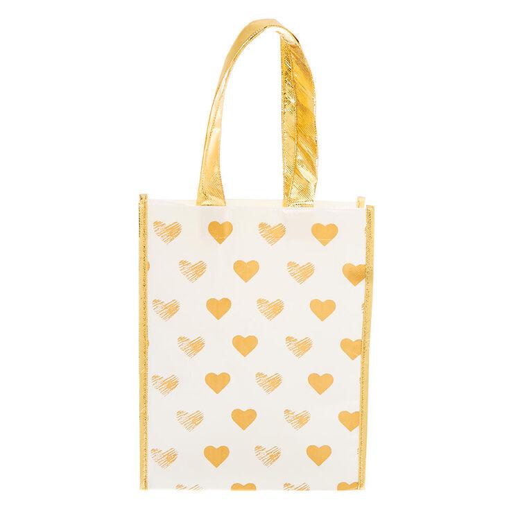 Golden Hearts Reusable Tote Bag - White,