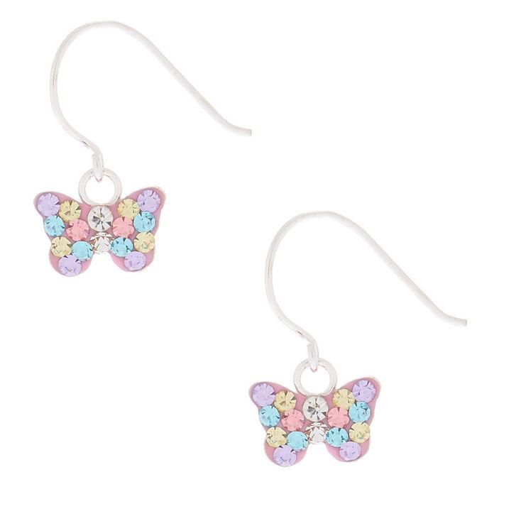 Sterling Silver Pastel Butterfly Drop Earrings,