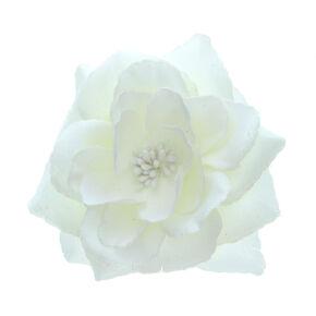 Grande barrette florale pailletée - Crème,