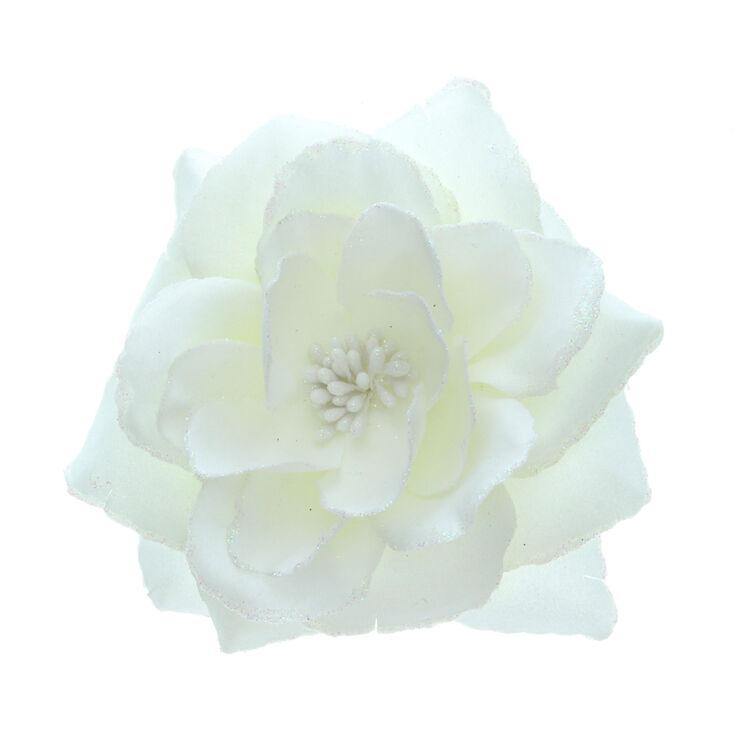 Large Glitter Flower Hair Clip - Cream,