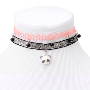 Claire's Club Pretty and Pink Panda Choker Necklaces - 2 Pack,