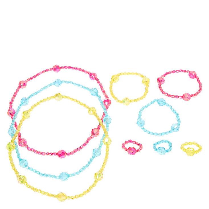 Parures de bijoux pastel irisées avec perle d'imitation en forme hexagonale pour enfant,