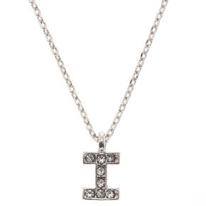 Silver Embellished Initial Pendant Necklace - I,
