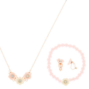 Claire's Club Rose Gold Flower Jewelry Set - Pink, 3 Pack,