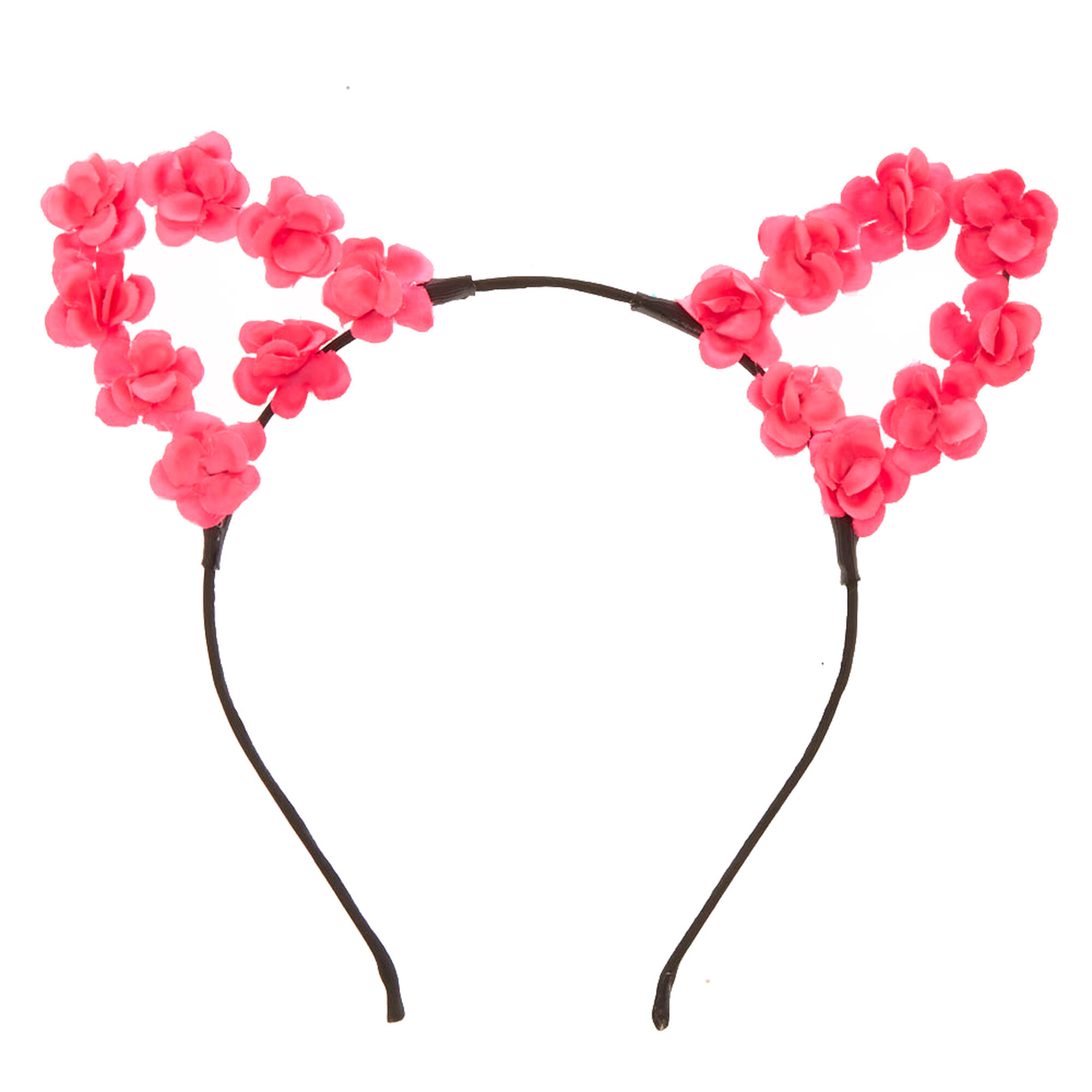 Hot Pink Flower Cat Ears Headband Claires Us