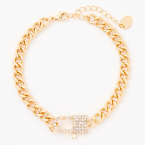 Gold Embellished Lock Chain Anklet,