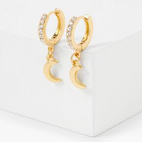 Gold 15MM Crystal Crescent Moon Huggie Hoop Earrings,