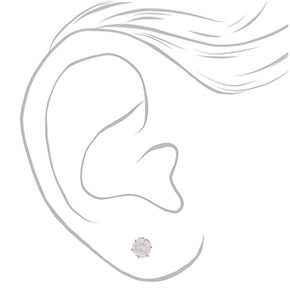 Rose Gold Titanium Cubic Zirconia Round Stud Earrings - 6MM,