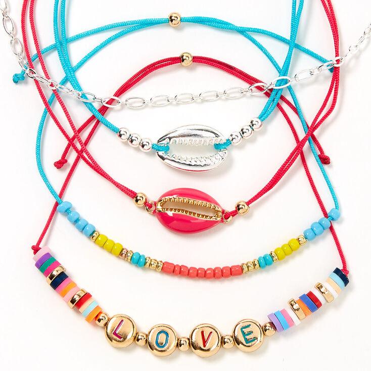 Rainbow Love Cowrie Shell Adjustable Bracelets - 5 Pack,