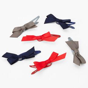 Barrettes clic clac à nœud bleues/rouges/grises Claire'sClub - Lot de 6,