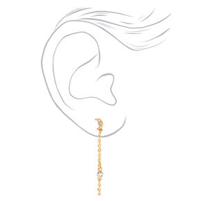 """Gold 1.5"""" Celestial Cross Front and Back Chain Drop Earrings - 3 Pack,"""
