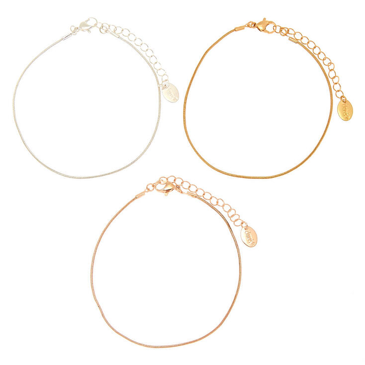 Mixed Metal Chain Anklets - 3 Pack,
