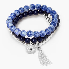 Evil Eye Marble Beaded Stretch Bracelets - Blue, 3 Pack,